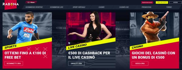 Rabona bookmaker - bonus scommesse sportive e bonus casinò
