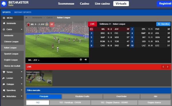 Betmaster, scommesse con gli sport virtuali