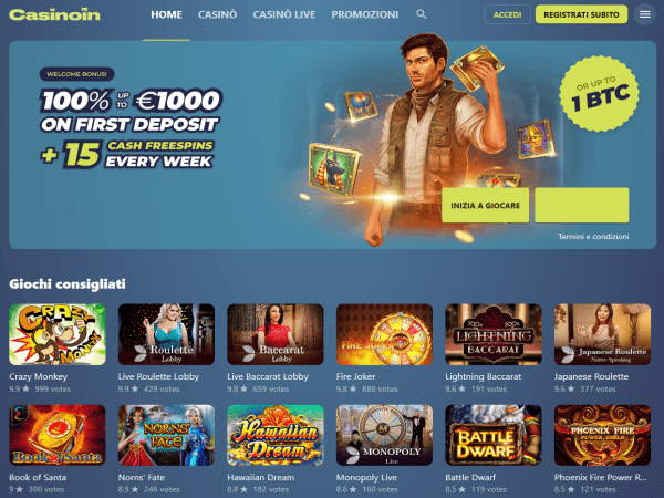 Recensione di Casinoin - il casinò online N.1 in Europa e in Italia