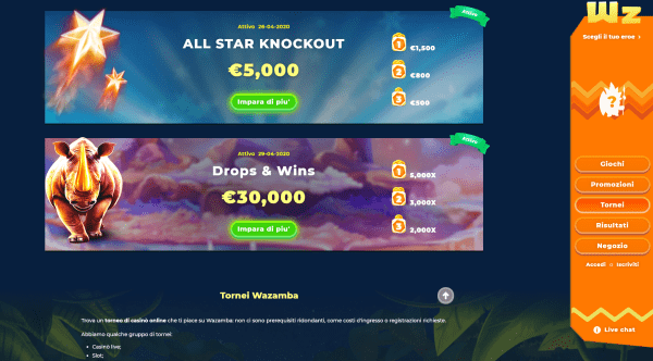 Wazamba casino Tornei slot online
