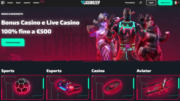 Casinozer homepage Italia