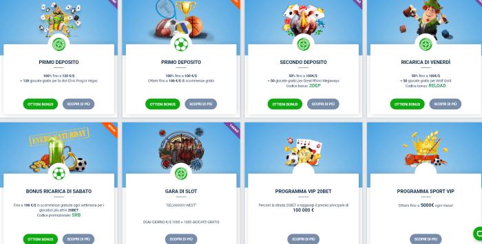 20bet bonus, casinò bonus e sport bonus