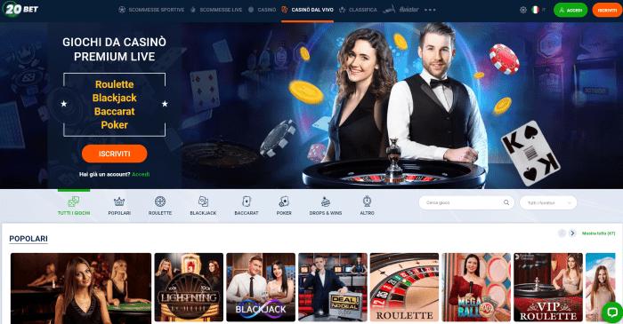 20bet casino live - casinò dal vivo