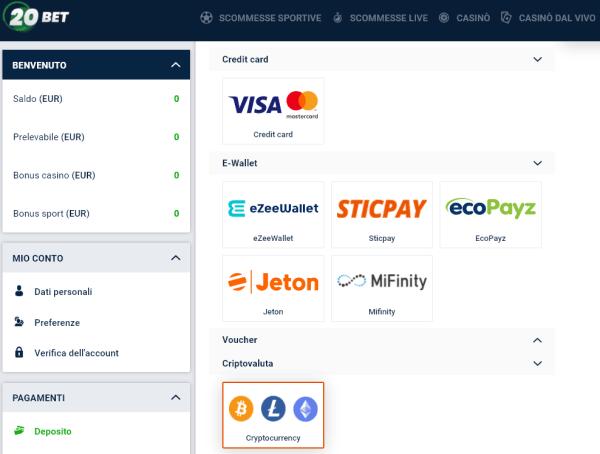 20bet metodi di pagamento