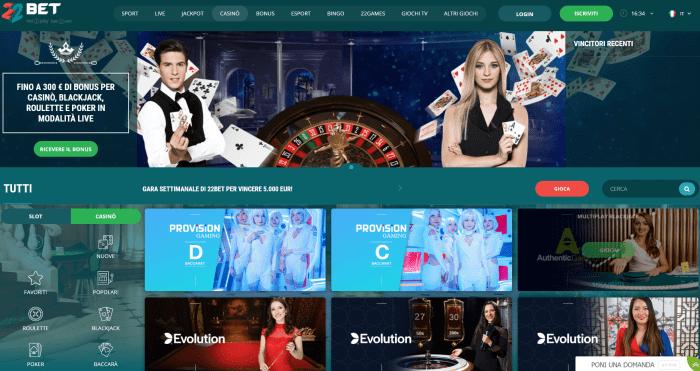 22bet casinò - live casino